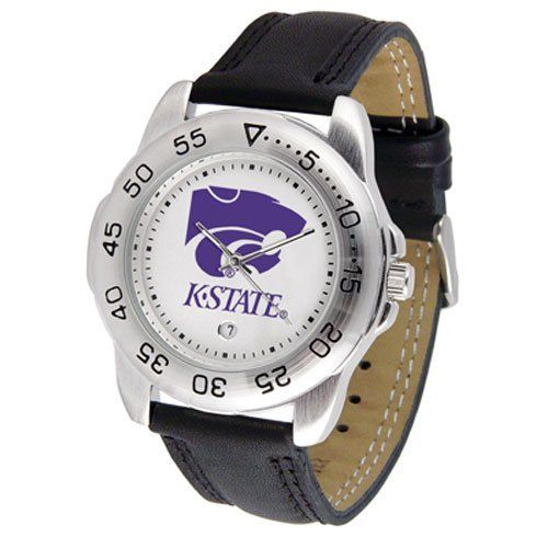 """Kansas State Wildcats NCAA """"Sport"""" Mens Watch (Leather Band) by SunTime. $42.30. Scratch Resistant Face. Rotation Bezel/Timer. Calendar Date Function. This handsome, eye-catching watch comes with a genuine leather strap. A date calendar function plus a rotating bezel/timer circles the scratch-resistant crystal. Sport the bold, colorful, high quality logo with pride.. Save 10% Off!"""
