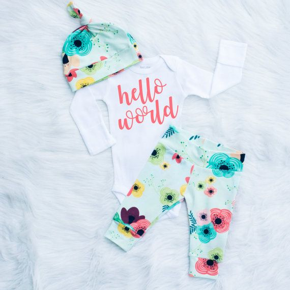 Hello World Newborn Girl Coming Home Floral Take Home Set by BerryBestTees