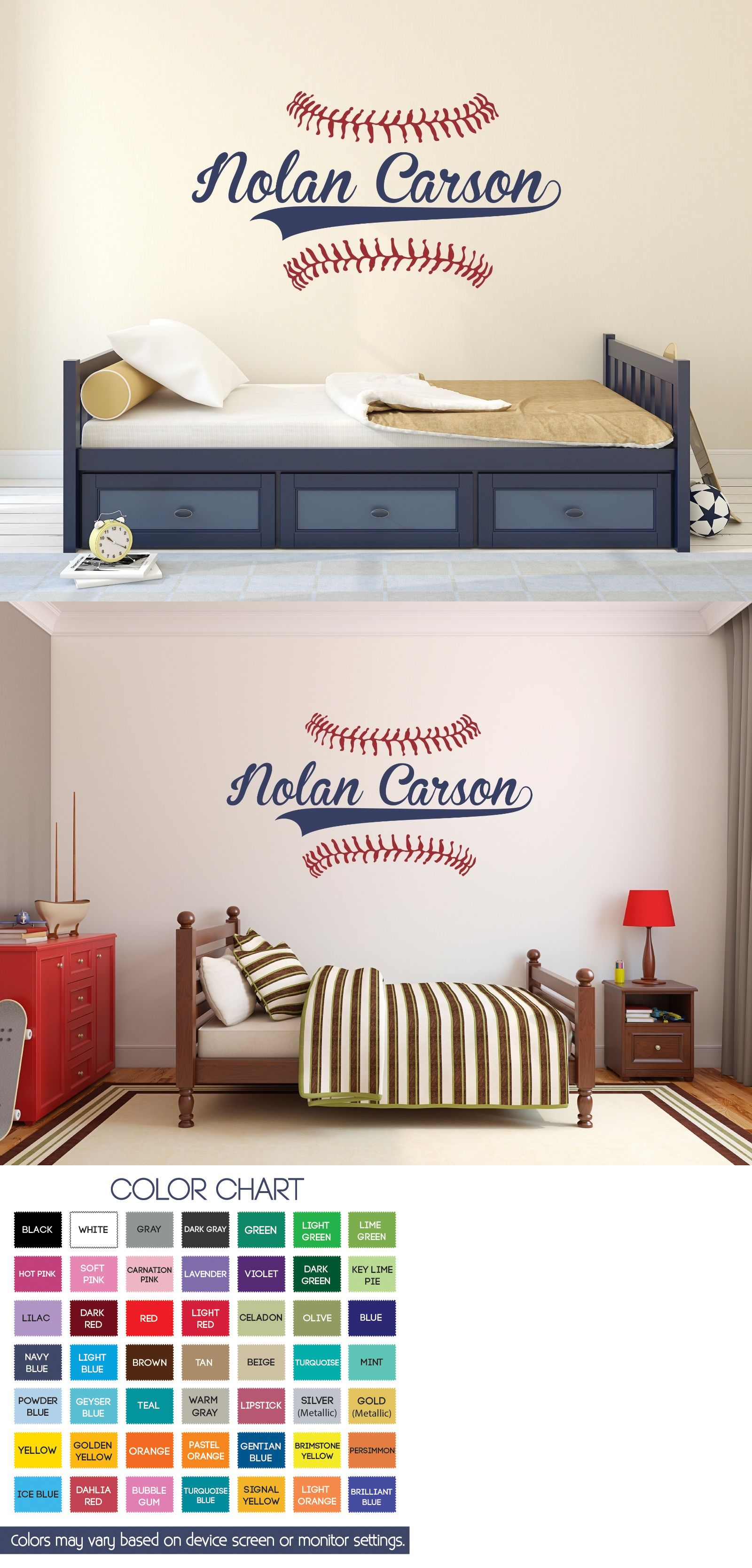 Decals Stickers And Vinyl Art 159889 Custom Name Baseball Wall Decal Bedroom Boys