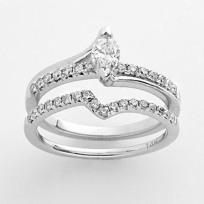 14k White Gold 3/4-ct. T.W. IGI Certified Diamond Marquise Engagement Ring Set