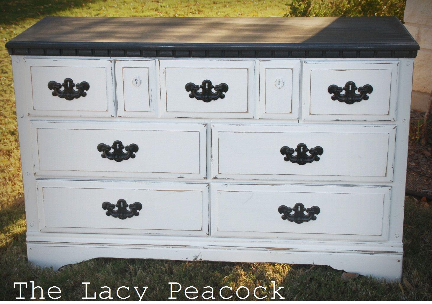 Black And White Distressed Dresser