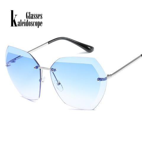 0d521ae5960 Kaleidoscope Glasses Female Frameless Sunglasses Oversize Glasses for Women  Brand Designer Shades Sun Glasses