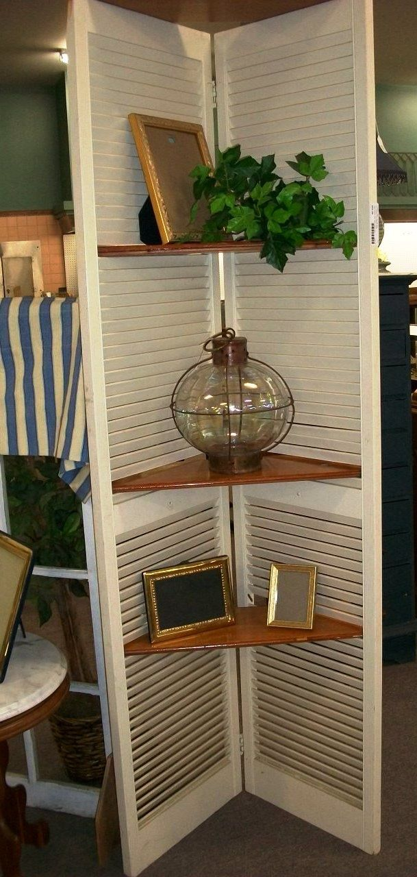 Diy Shutter Shelf Repurpose Could Use This In Same Corner Of Dining Room Or In Blakes Saves Room Diy Shutters Shutter Shelf Decor
