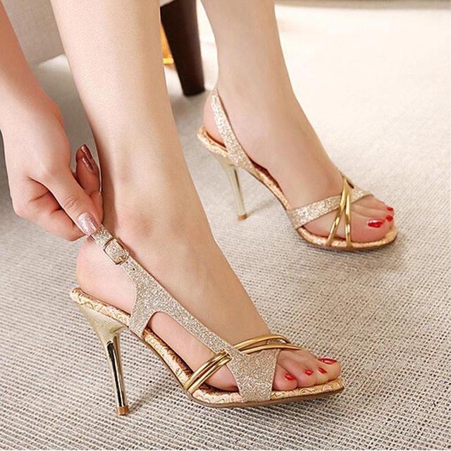 e15422c6b1 SHIDIWEIKE Women Sandal Thin High Heels Sandals Gold Ladies Summer ...