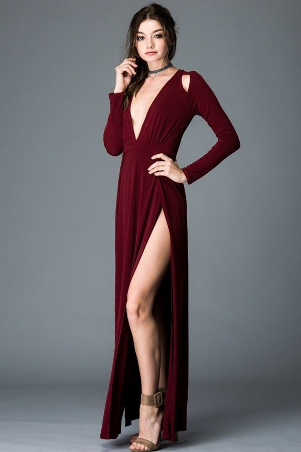 Sweet Mello Cut Off Shoulder Long Sleeve Maxi Dress With Front Slit