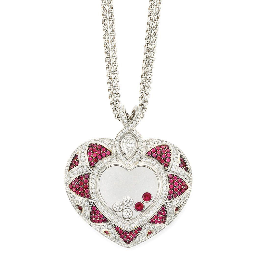 Chopard happy diamond white gold crystal diamond ruby heart happy diamond white gold crystal diamond ruby heart pendant aloadofball Gallery