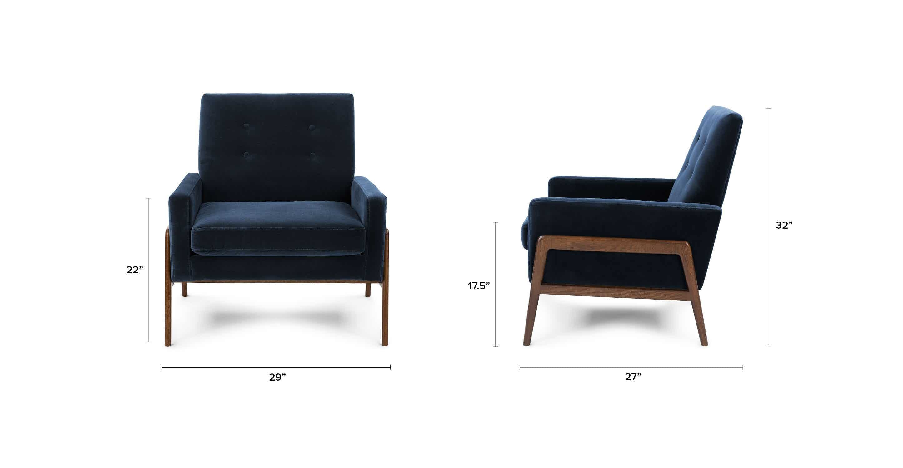 Blue Accent Armchair In Fabric Article Nord Cascadia Modern