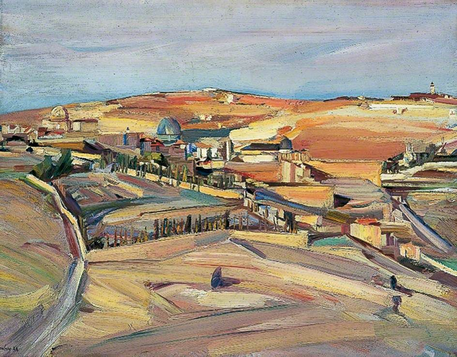 The Southeast Corner, Jerusalem (Palestinian Landscape) by David Bomberg Pallant House Gallery      Date painted: 1926     Oil on canvas, 51 x 66 cm     Collection: Pallant House Gallery  Where to see this painting? Pallant House Gallery 9 North Pallant, Chichester, West Sussex, England, PO19 1TJ