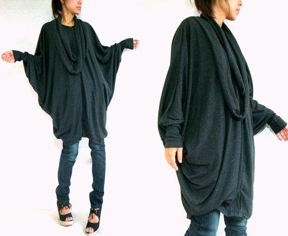Women Black Cotton Boho Oversized T-Shirt Tunic Dress por idea2wear