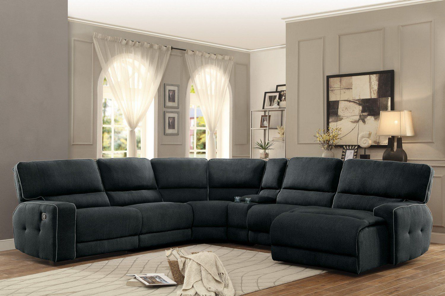 sectional couches with recliners and chaise inside keamey dark grey fabric oversized reclining sectional sofa set chaise