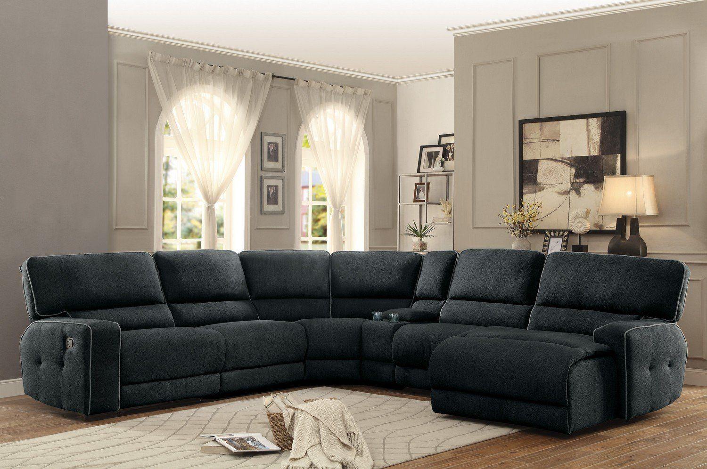 Keamey Dark Grey Fabric Oversized Reclining Sectional Sofa Set