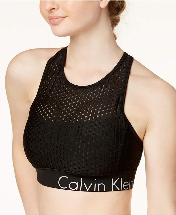 488ac2a7900 Calvin Klein Mesh Cross-Back Medium-Support Sports Bra