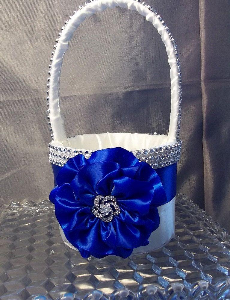Flower Girl Basket With Royal Blue Flower And Rhinestone Mesh