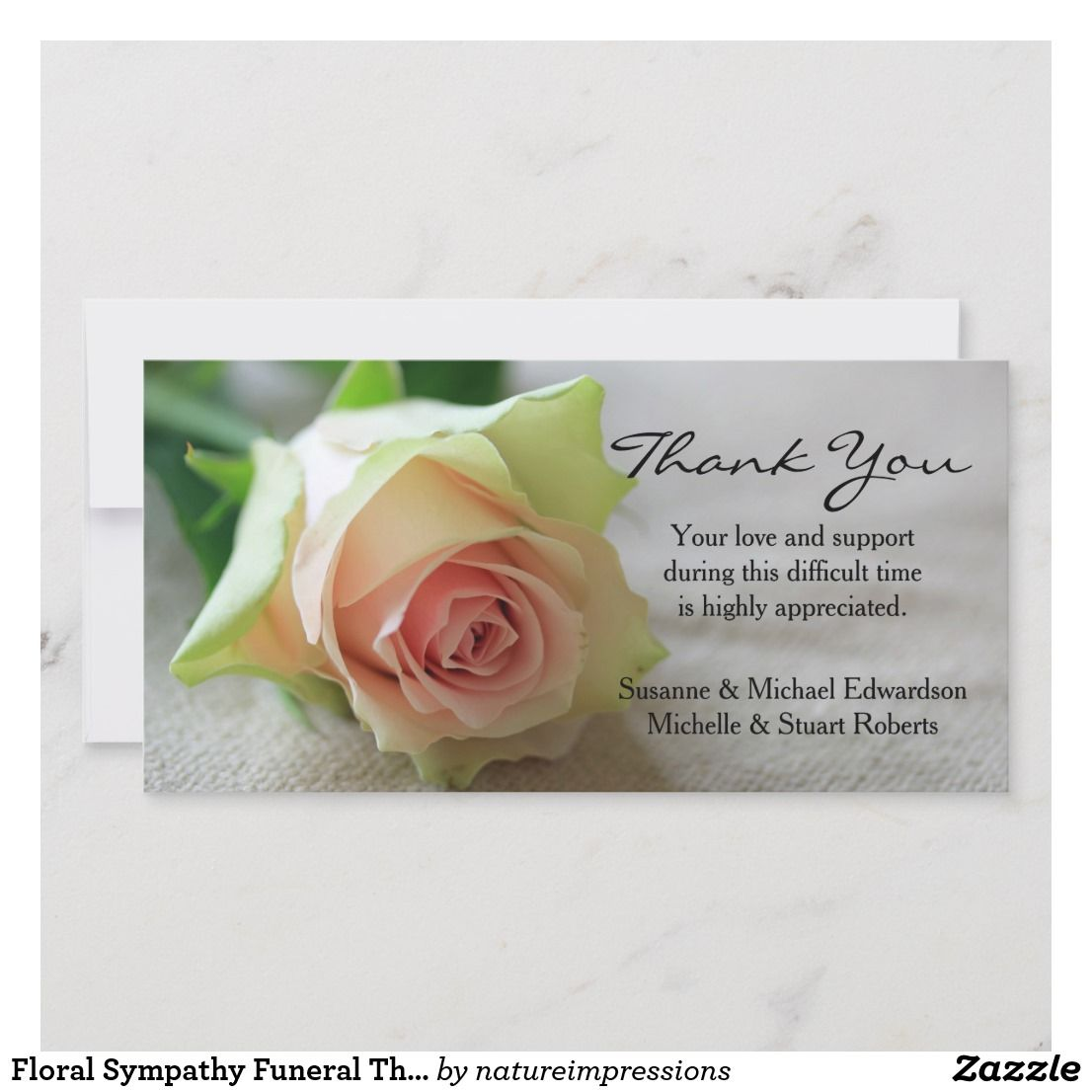 Floral Sympathy Funeral Thank You Pink Rose