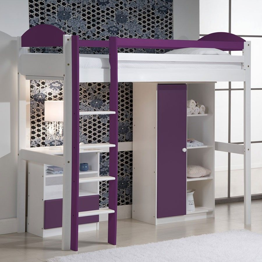 lit avec mezzanine violet en pin chambre enfant ou. Black Bedroom Furniture Sets. Home Design Ideas