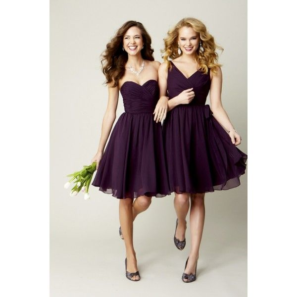 Exceptionnel Cute Purple Chiffon Knee Length A Line Bridesmaid Or Cocktail Dress    WEDDING PARTY DRESSES
