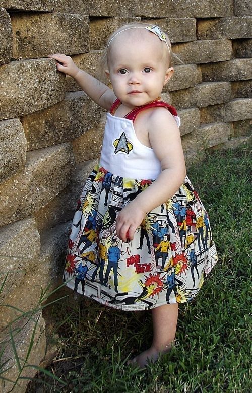RTS Star Trek 9,12,18 Months Girls Dress Transitional Fall Jumper Unique Cross Stitch Set Headband. SO NERDY!!