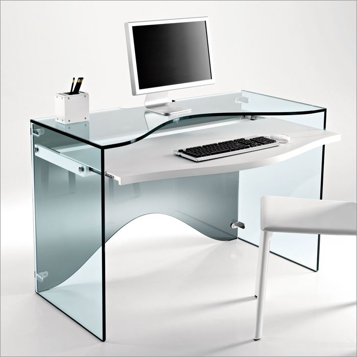 Minimalist Transparent Glass Computer Desk Design Modern Home