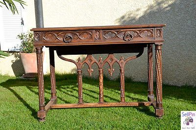 $2,290.00: Antique French Gothic Office Desk in Solid Walnut, 19th Century, Heavy Carvings