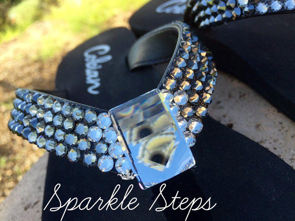 8c8cfc2c0c2497 Black Diamond Ombre  Rockstar Swarovski Crystal Flat Flip-flops ...