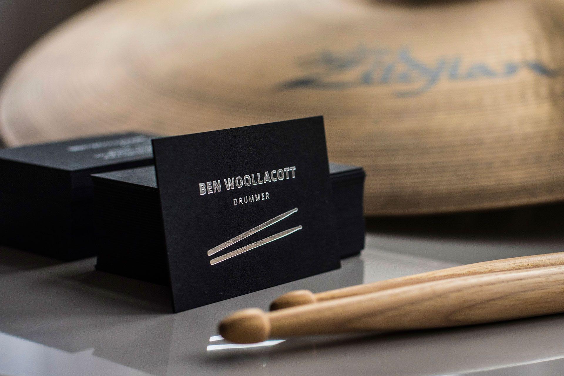 Ben Woollacott drummer business cards branding design Ula Burgiel ...