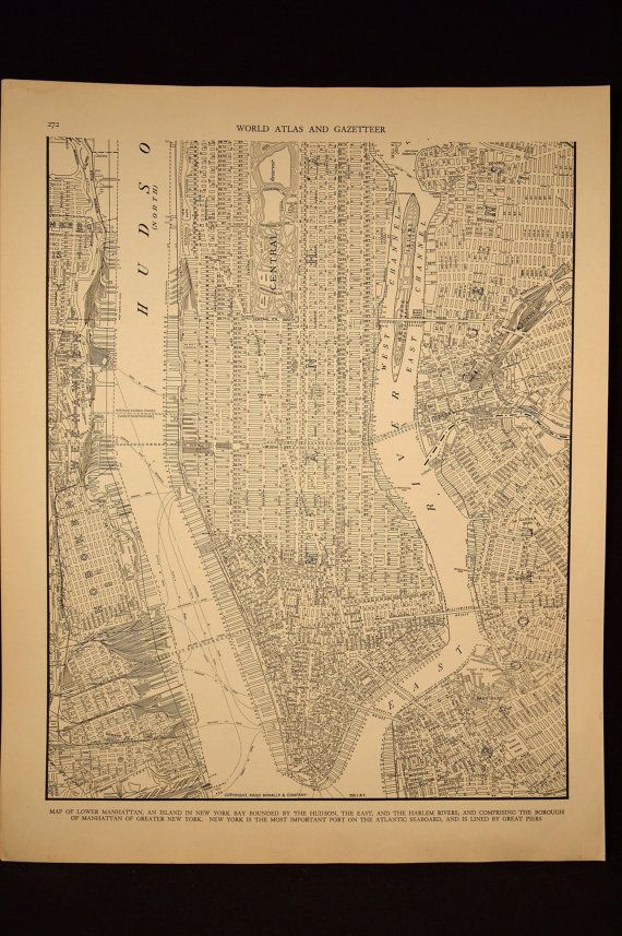 Vintage map lower manhattan new york city 1930s original maps vintage map lower manhattan new york city 1930s original gumiabroncs Choice Image