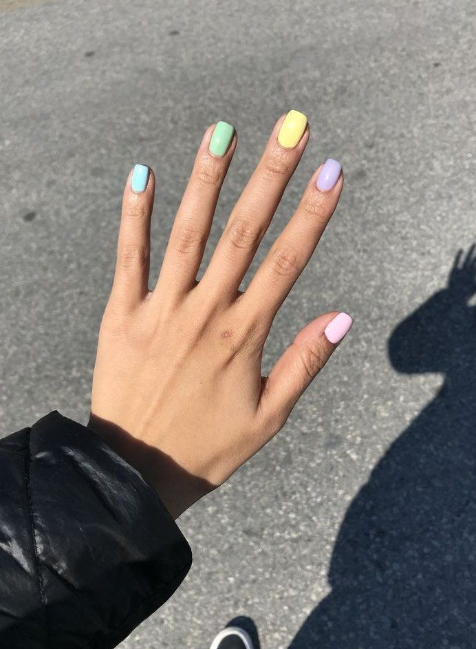Celebrity style rainbow nails rainbow nails nails art paso a paso blue nails nail art nail art de #frenchnails