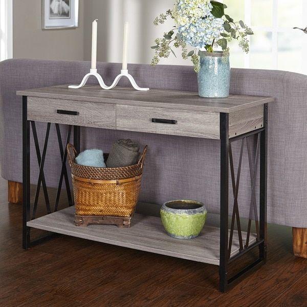 Delightful Simple Living Seneca XX Reclaimed Look Sofa Table (Black/ Grey)