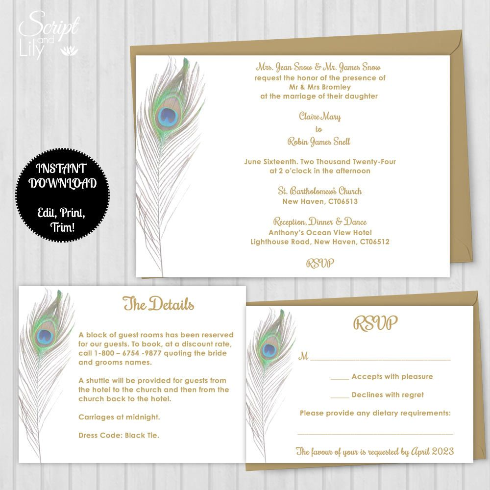 Stunning Peacock Theme Invitation Kit Printable Templates