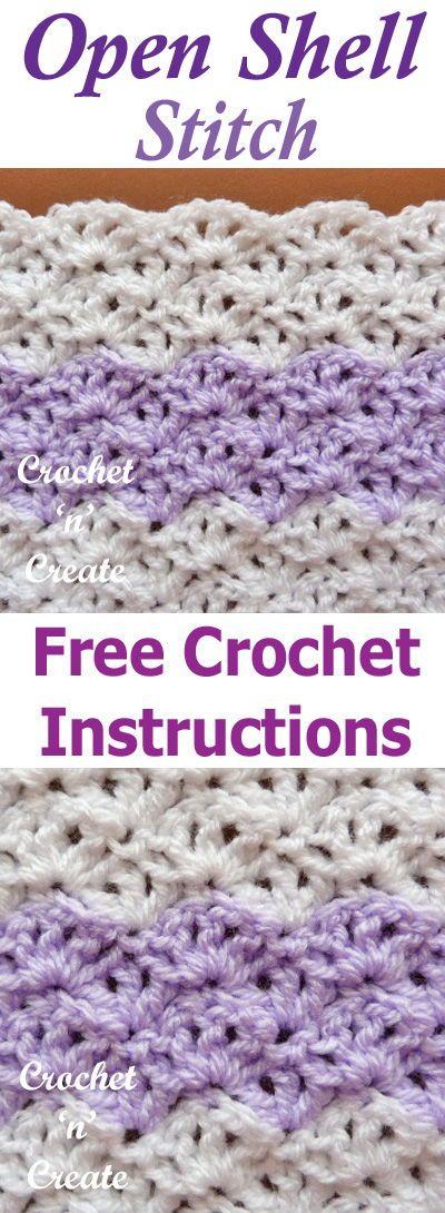 Open Shell Crochet Stitch Free Crochet Tutorial On Crochet N Create Crochet Stitches Free Afghan Crochet Patterns Crochet Stitches Patterns