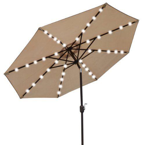 9 new solar 40 led lights patio umbrella garden outdoor sunshade beige 2015