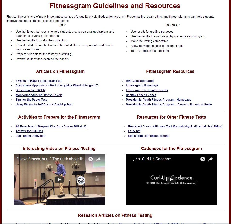 Fitnessgram Guidelines and Resources physed Fitness