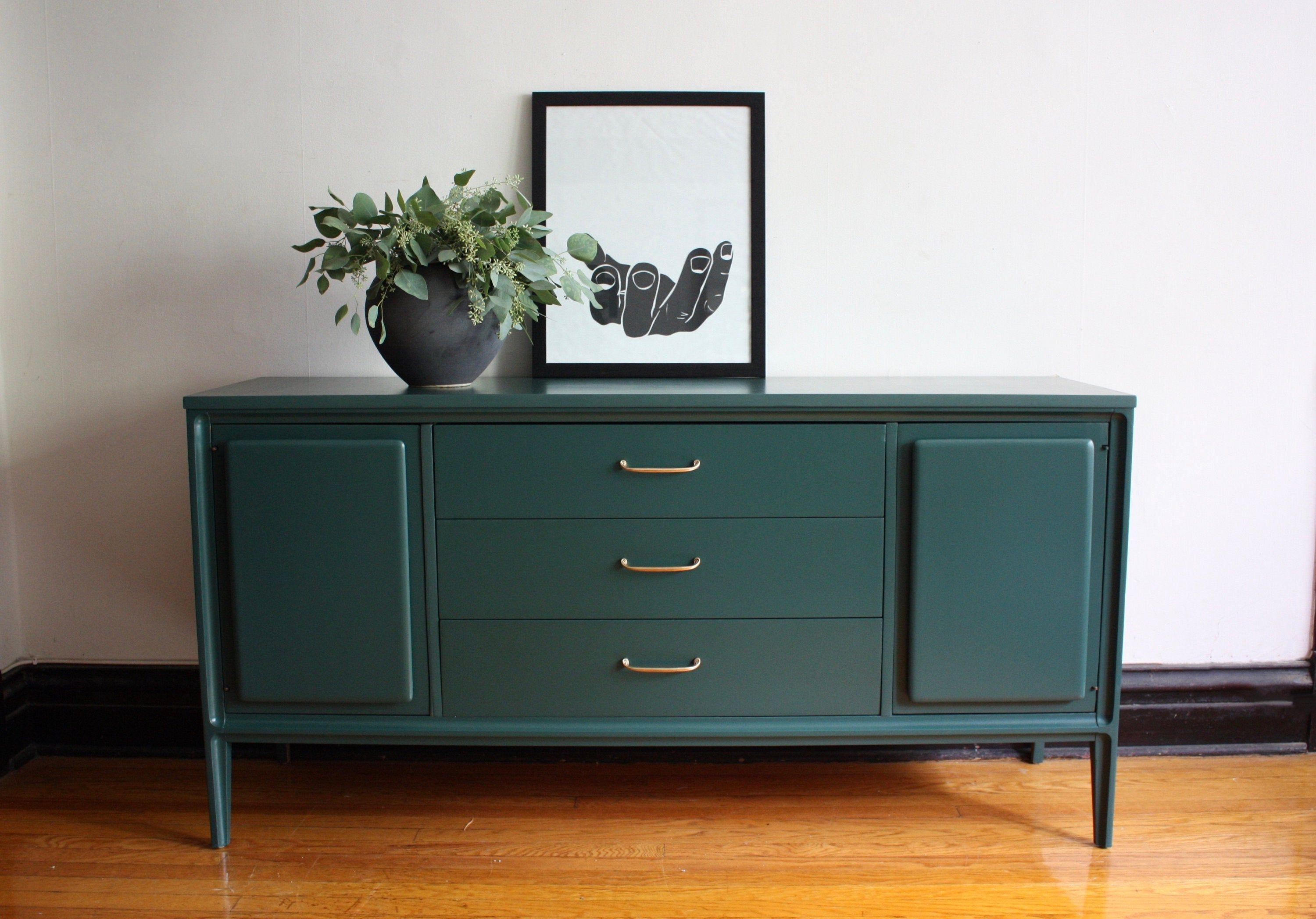 Soldhunter Green Mid Century Modern Credenza By Etsy Refinished Vintage Furniture Mid Century Modern Credenza Modern Sideboard [ 2095 x 3000 Pixel ]