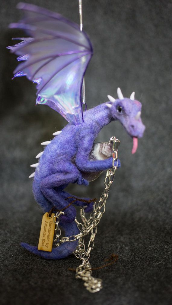 OOAK Needle Felted dragon ornament with treasure #feltdragon