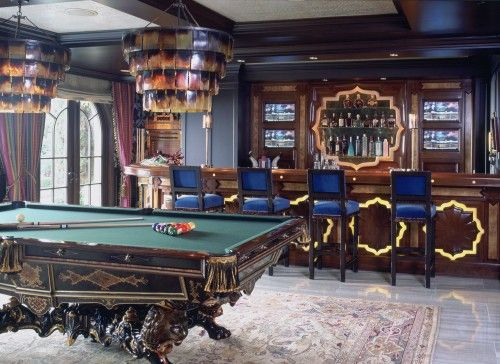 Game Room, Wet Bar, Pool Table, Dart Board, Arcade Machines, Sitting Area.  Photography By Tim Street Porter
