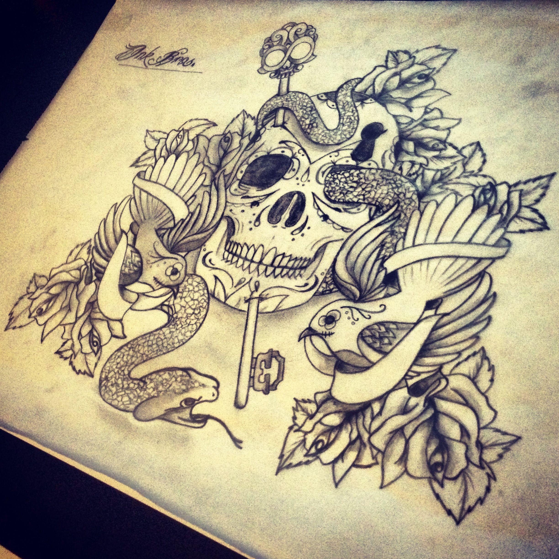 IB Design ( Tattoo Sketch Dutch Netherlands Skull Skulls