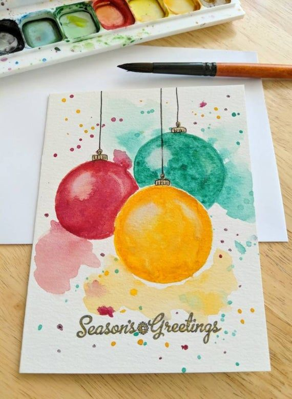 Christmas Cards Christmas Tree Ornament Card Original Watercolor Card Hand Painted Greeting Cards Handmade Holiday Cards Note Cards 19 Painted Holiday Cards Ideas How Do It Info