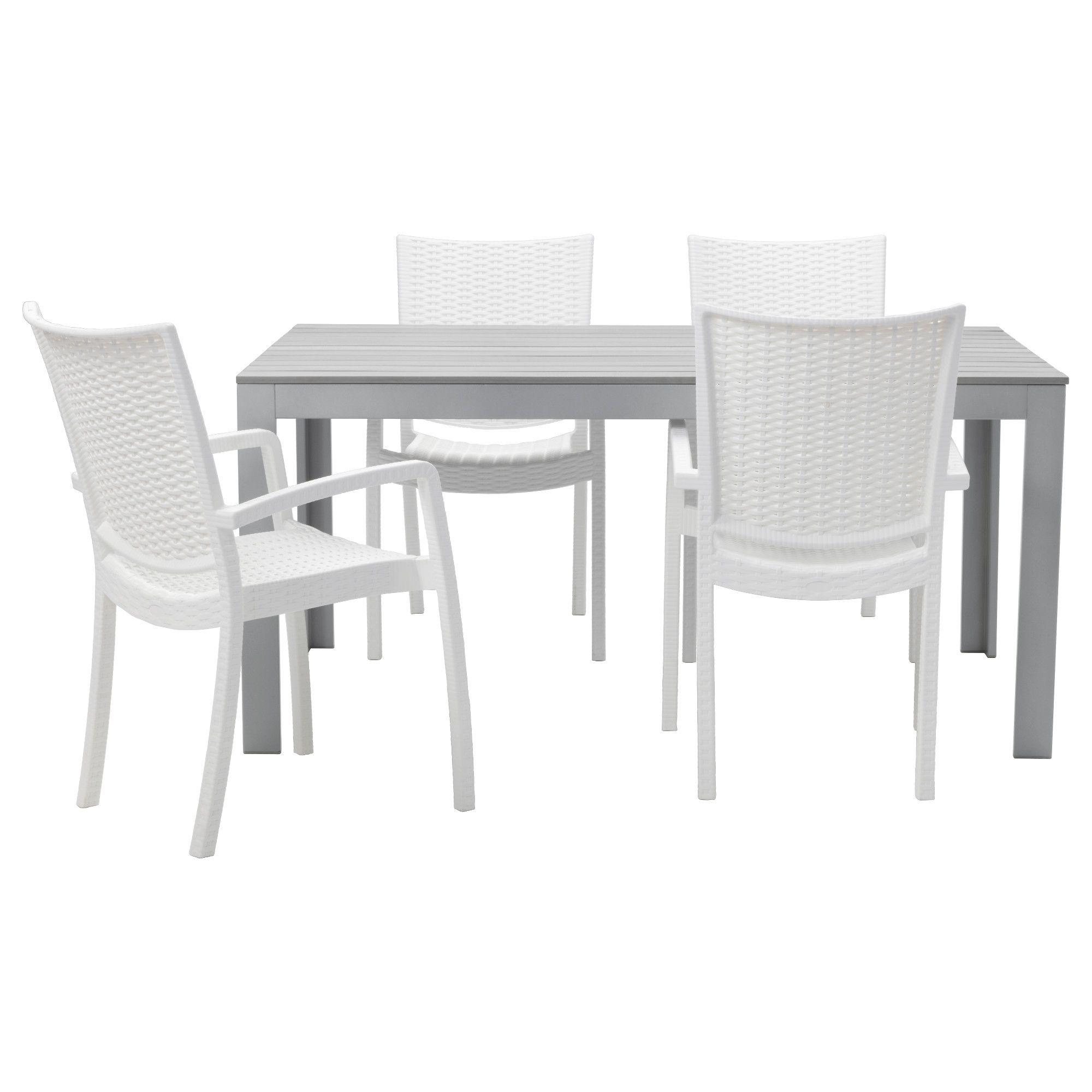 FALSTER / INNAMO, Tisch+4 Armlehnstühle/außen, grau, weiß Jetzt ...