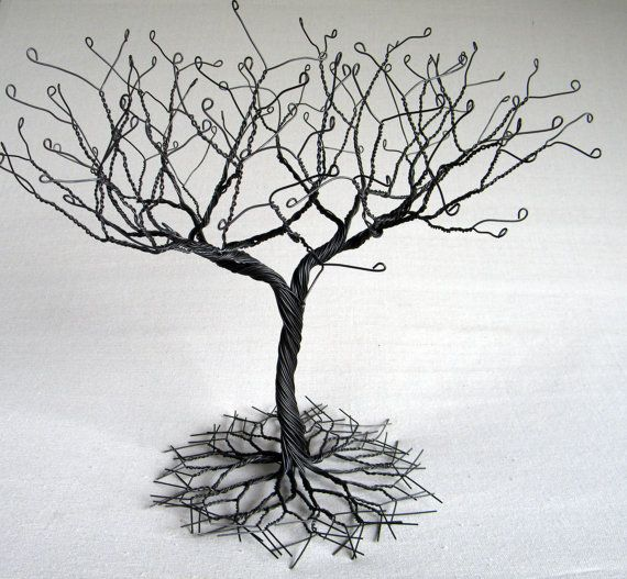 Black Large Earring Tree Stand Wire Sculpture Perfect For Necklaces Earrings Rings Etc Display Holder Organizer