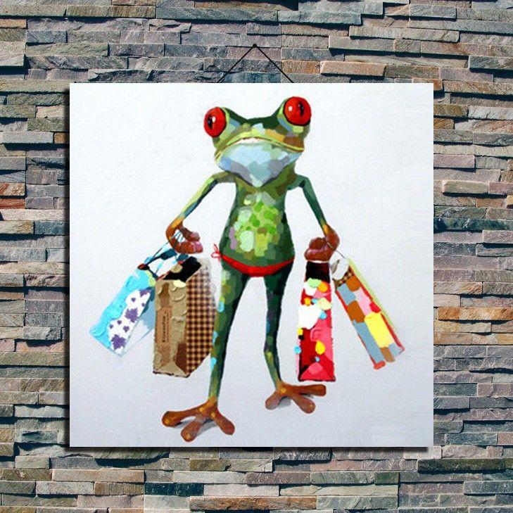 Handgemaltes Ölbild( Glücklich Frosch) Frosch Gläser Tiermalerei Dekorative  Malerei Wandmalerei Der Malerei Wände In Handgemaltes Ölbild( Glücklich  Frosch) ...