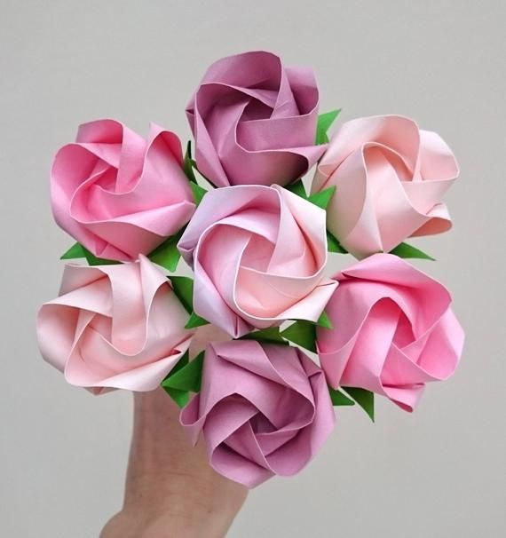 Photo of Pink roses bouquet, Mother's Day present, eco friendly origami flowers, 1st paper anniversary, romantic gift for wife, alternative wedding