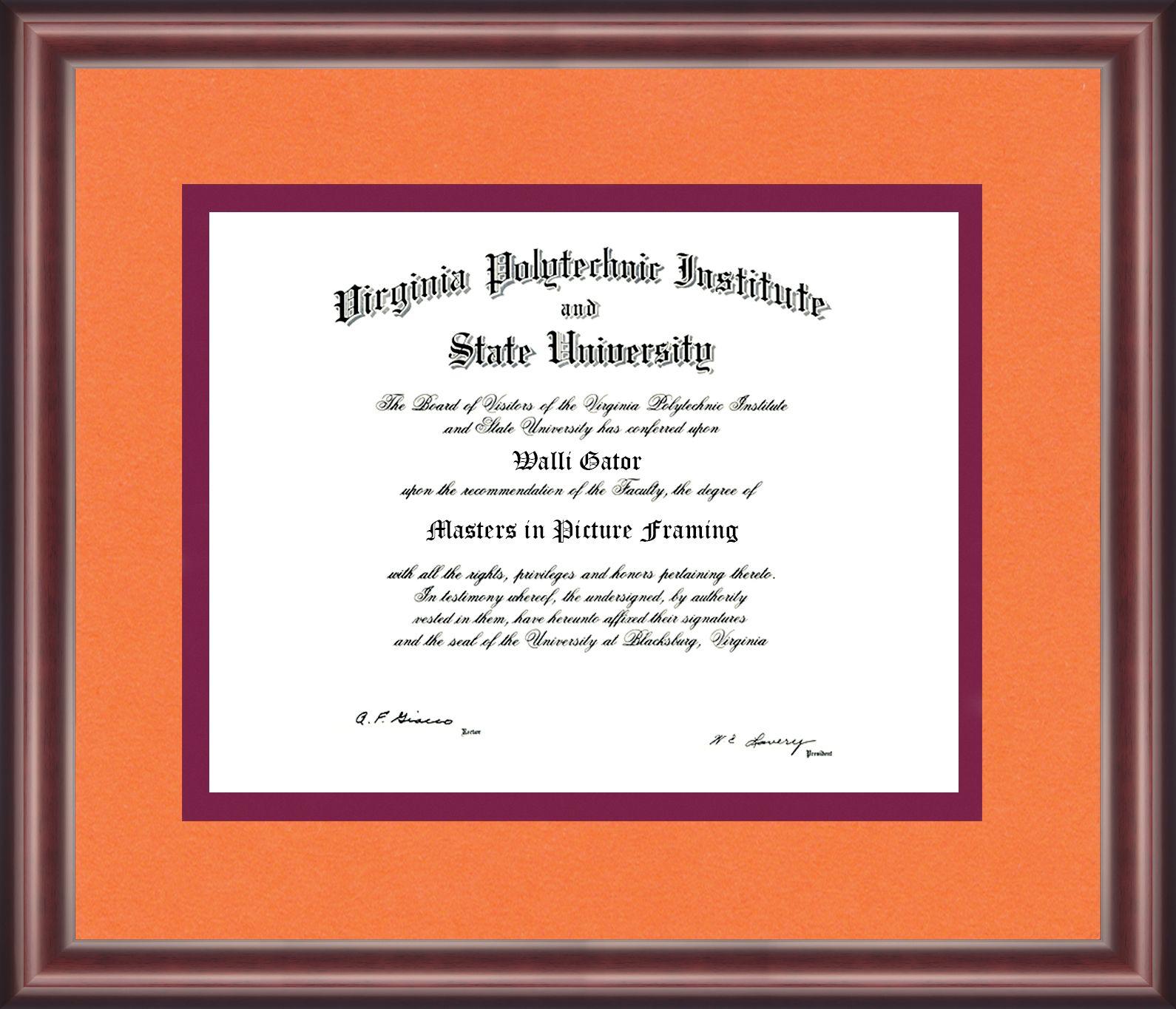 Virginia Tech Diploma Frane Talking Walls Tech School Diploma Frame Virginia Tech