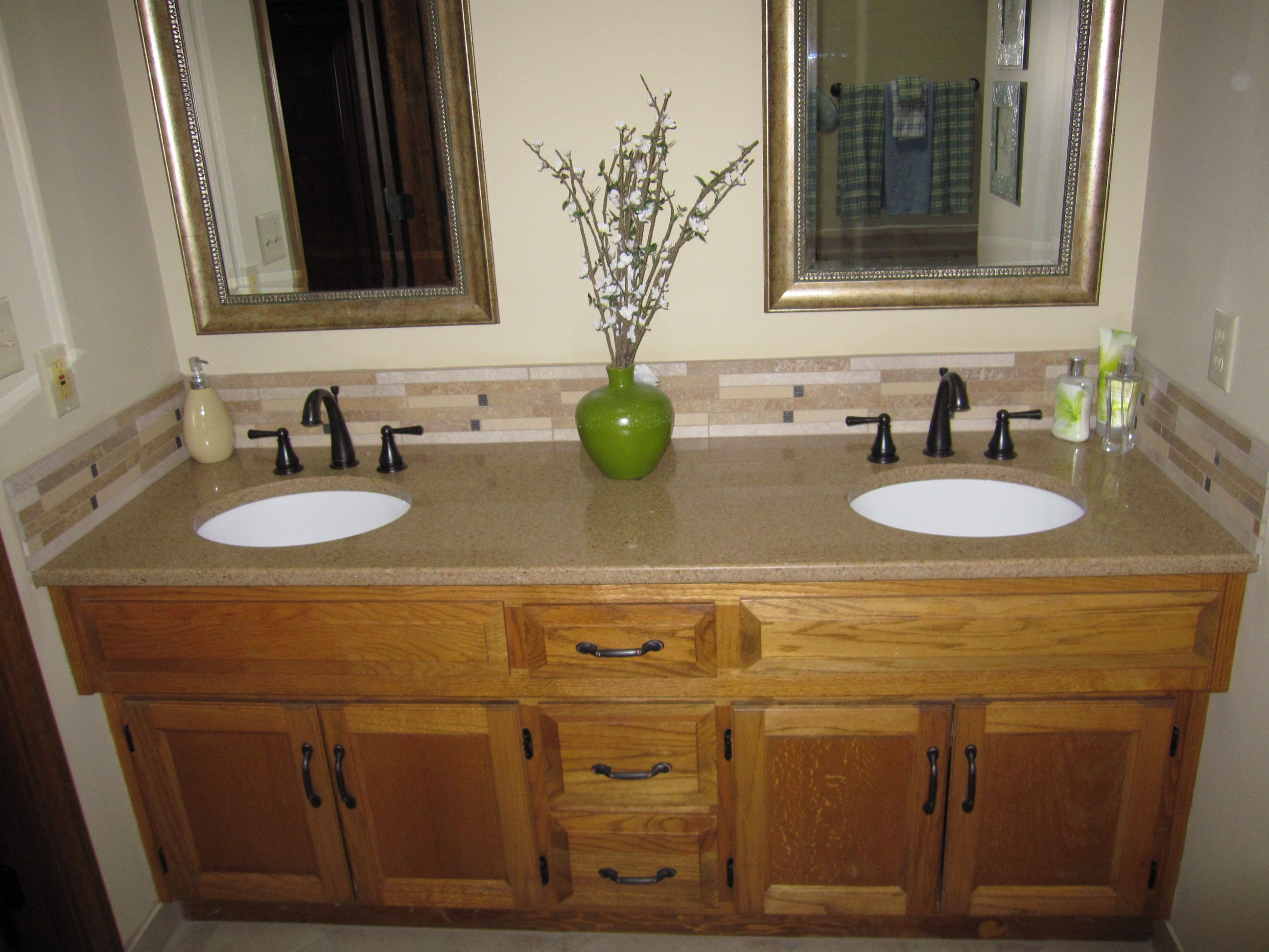 Master bath double vanity with granite oil rubbed bronze faucets and hardware refinished oak - Double sink vanity countertop ideas ...