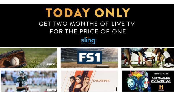 Sling TV Deal 10/14 Only 2 Months for the Price of One