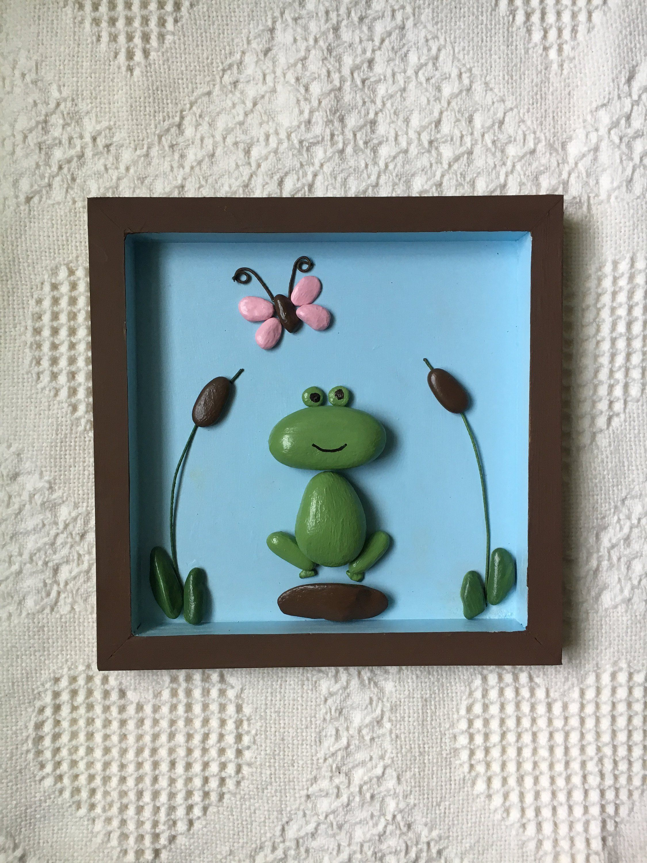 Frog pebble art, frog decor, framed pebble art, frog wall art, kids room wall art, office wall decor, nursery wall art, baby shower gift