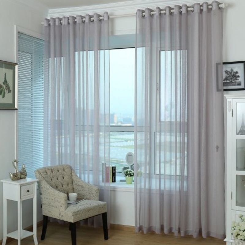 Unique And Simple Home Grey Purple Sheer Curtain