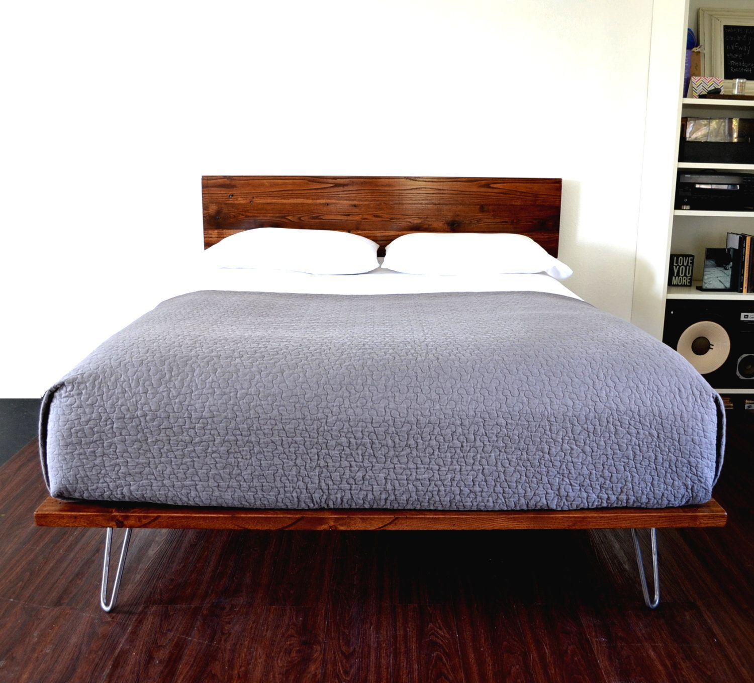 SALE ITEM Reclaimed Wood Platform Bed And Headboard On Hairpin Legs ...