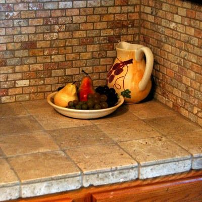 Kitchen Backsplash Ideas    Tumbled Stone Tile Is A Good Alternative To A  Diy Countertop For That Tuscany Look In Your Kitchen Or Bathroom.