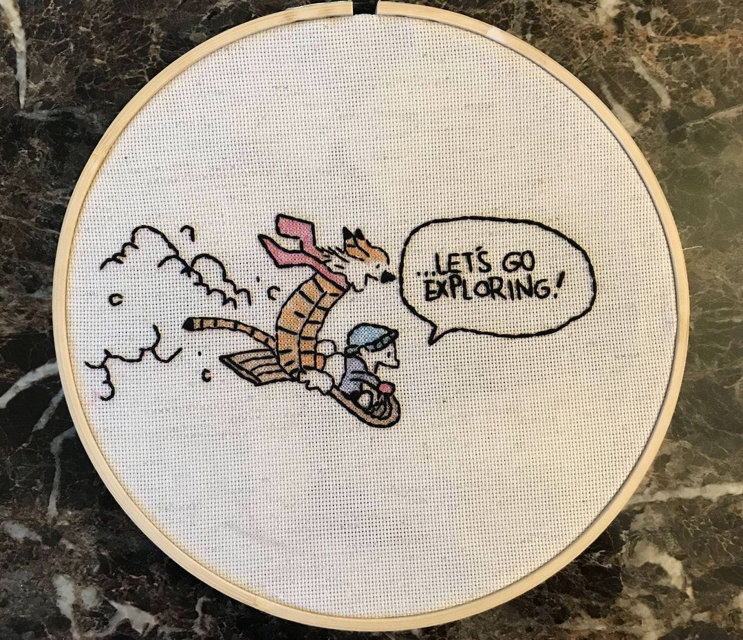 Calvin and hobbes embroidery disney cross stitch