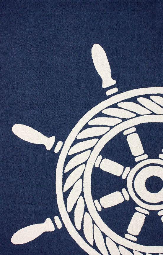 Rugs Usa Breeze Nautical Wheel Indoor Outdoor Navy Rug In The